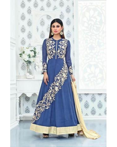 Salwar anarkali bleu Sajawat