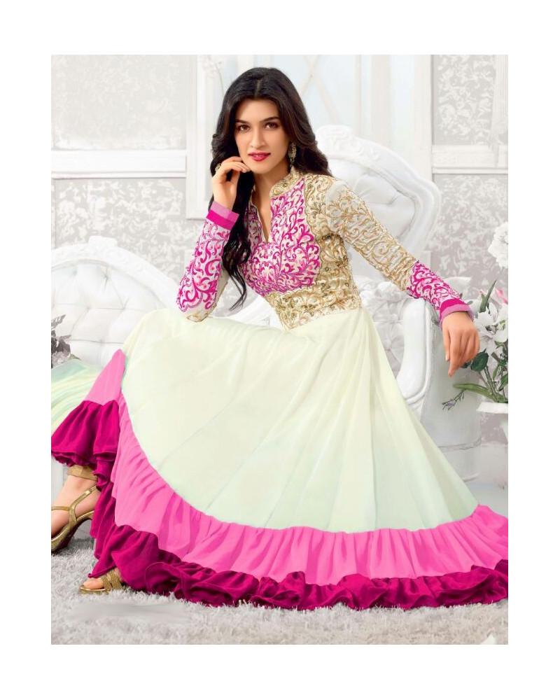 Salwar anarkali blanc/rose Varun