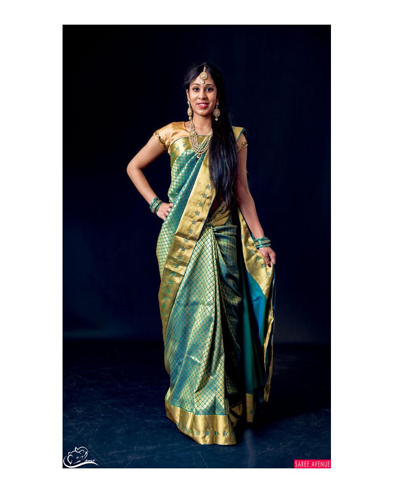 Saree silk turquoise