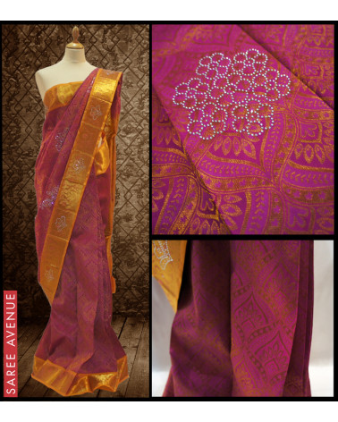 Kanchipuram silk saree violet