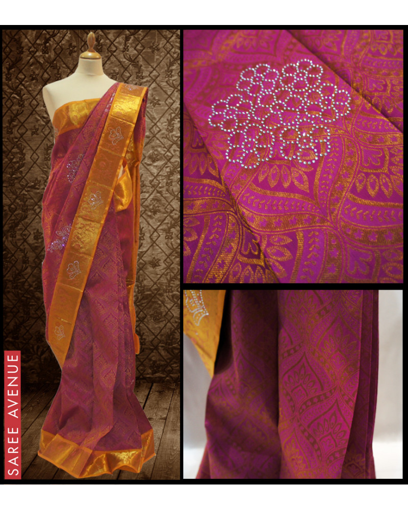 Kanchipuram silk saree violet
