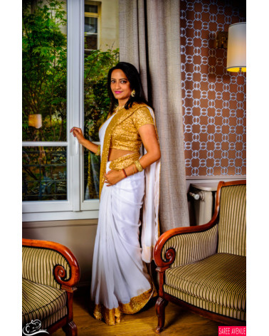 Saree blanc et or Marvellous