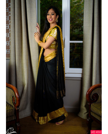 Saree noir et or Marvellous