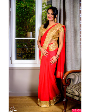 Saree rouge et or Marvellous