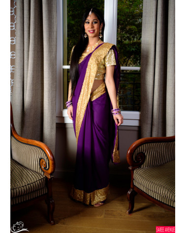 Saree violet et or Marvellous