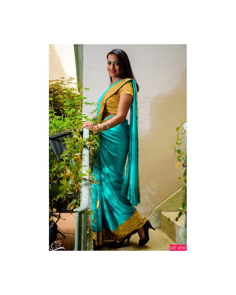 Saree turquoise et or Marvellous