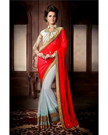 Saree fashion rouge/bleu