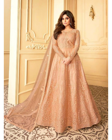 Salwar anarkali rose saumon Paon