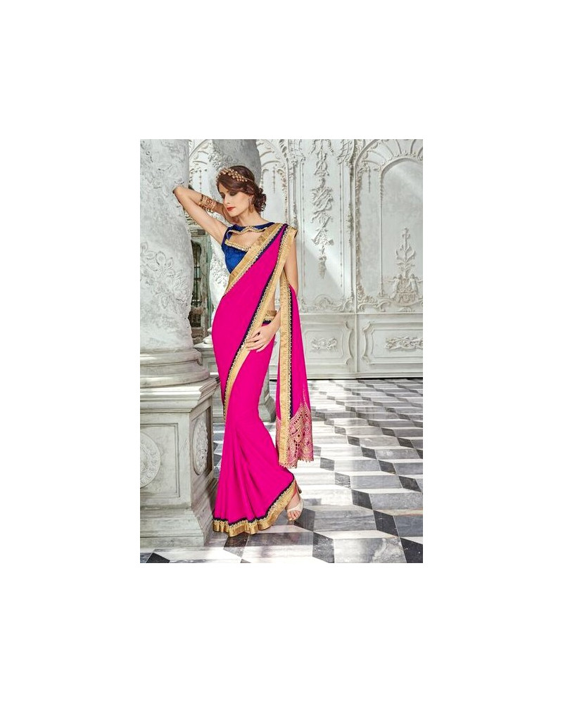 Saree fashion rose fushia Sahiba