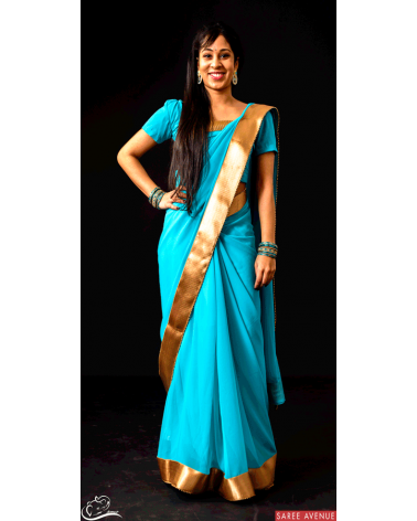 Saree bleu ciel Gold