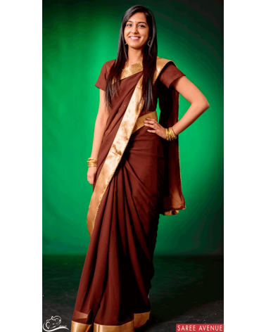 Saree marron Gold