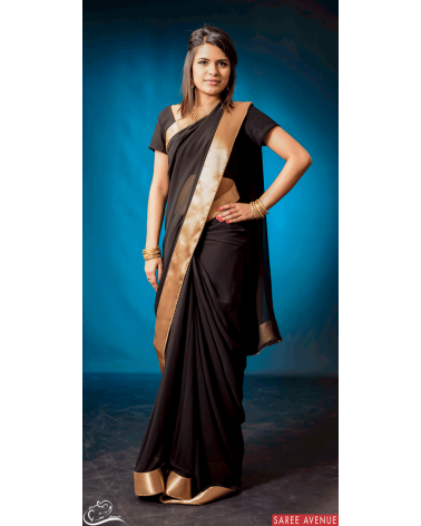 Saree noir Gold