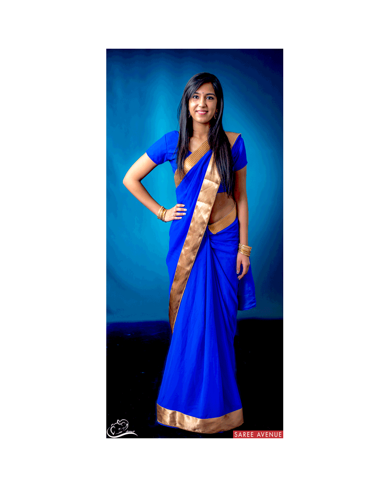 Saree bleu Gold