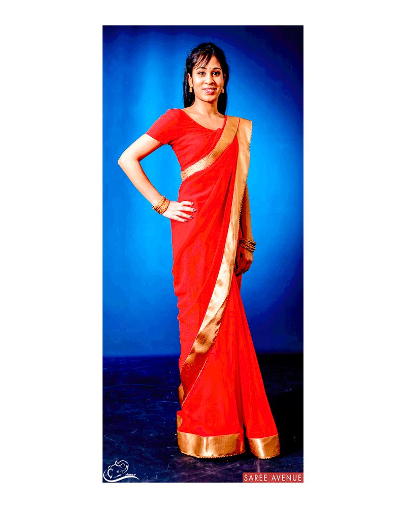 Saree rouge Gold