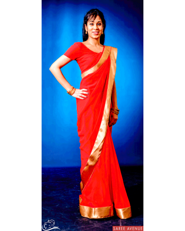 Saree rouge Gold