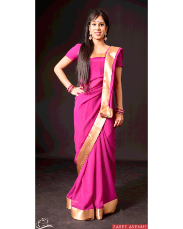 Saree violet Gold