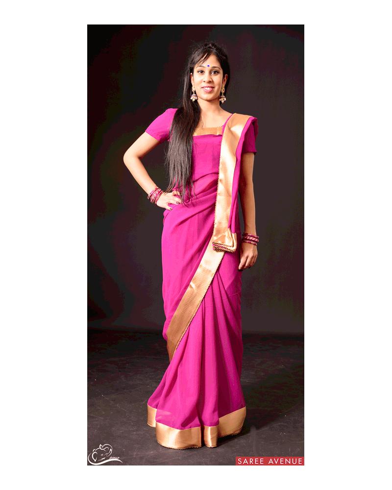 Saree violet Gold
