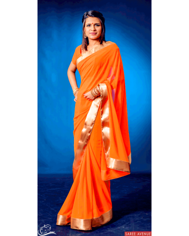 Saree orange Gold