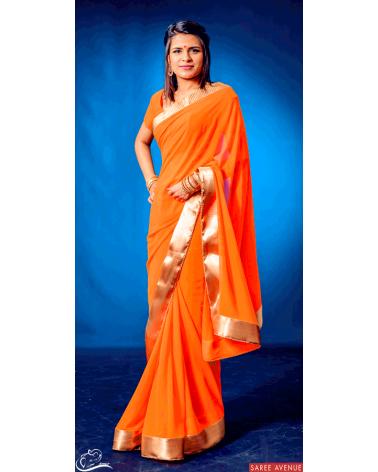 Saree orange Gold