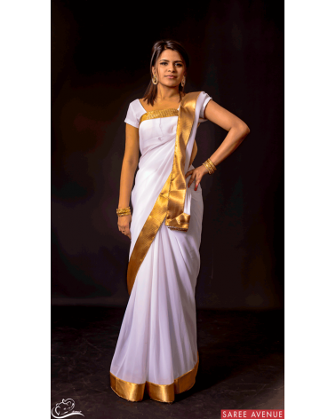 Saree blanc Gold