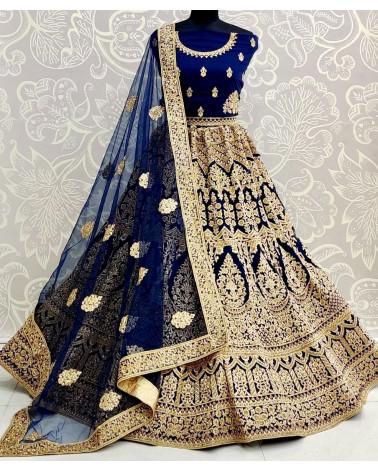 Lehenga choli bleu nuit Gujarat