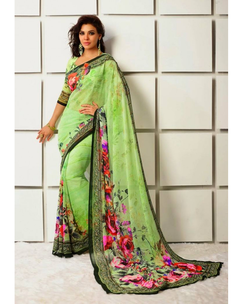 Saree flower vert
