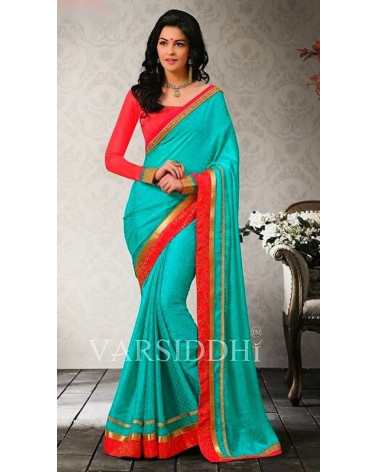 Saree fashion turquoise Varsiddhi