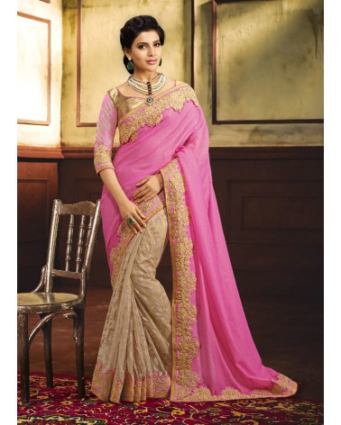 Saree fashion beige/rose Samantha