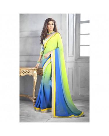 Saree dégradé vert/bleu Viksha