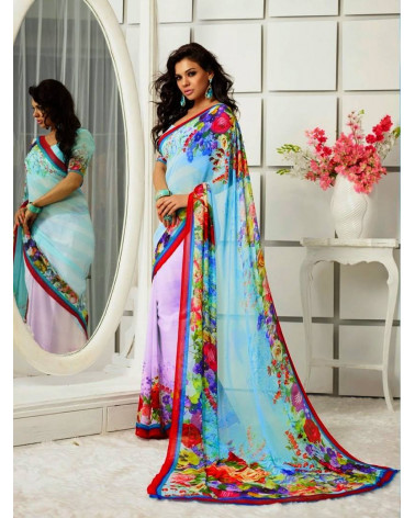 Saree flower bleu/violet