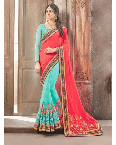 Saree fashion Rose/Bleu