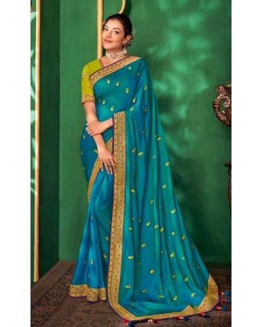 Saree bleu Kajal