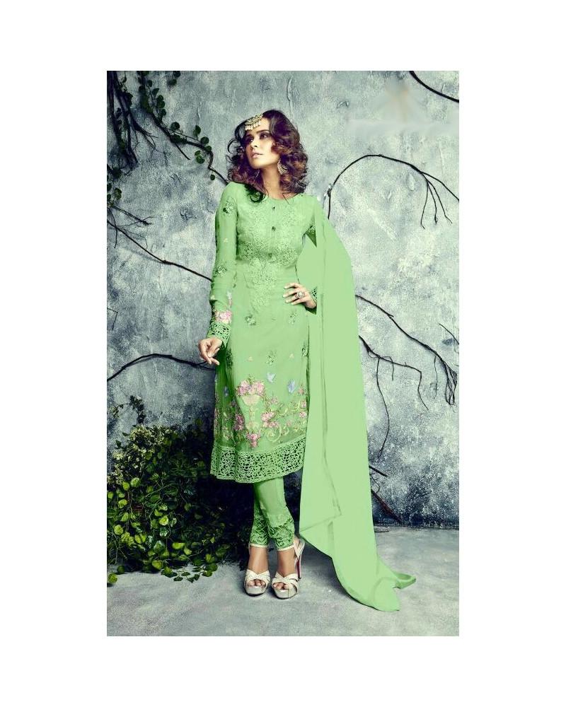 Salwar kameez vert flowers