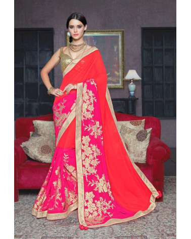 Saree fashion rouge/or Vogue