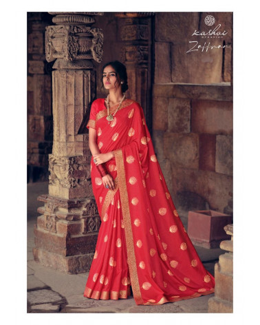 Saree rouge Zaffran