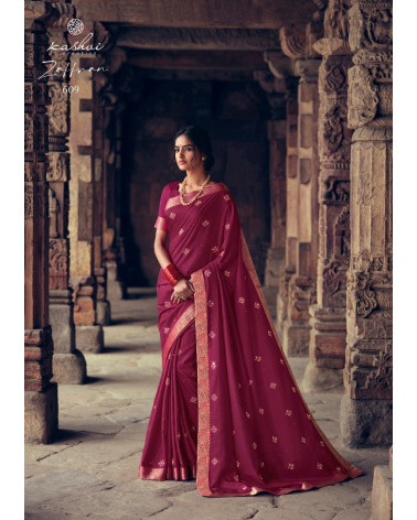Saree rouge bordeaux Zaffran
