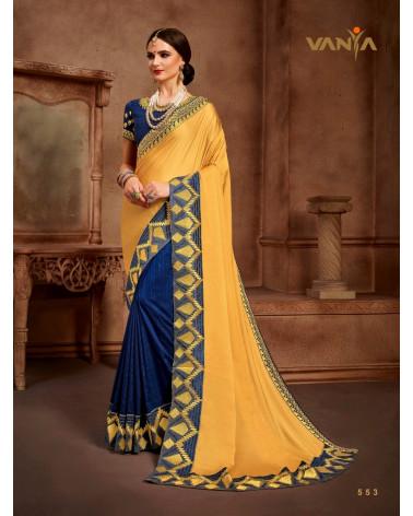 Saree jaune et bleu Vanya
