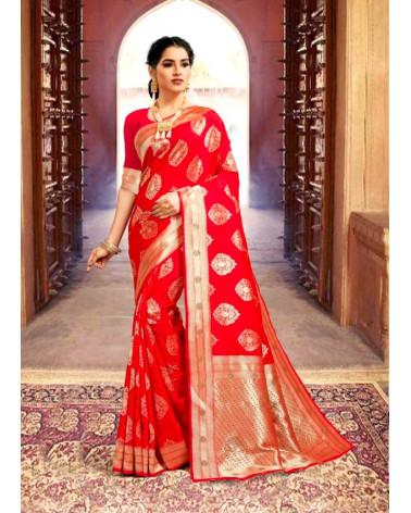 Saree rouge silk Kaveri