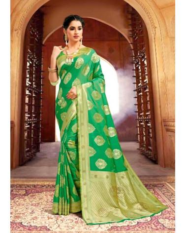 Saree rouge vert Kaveri