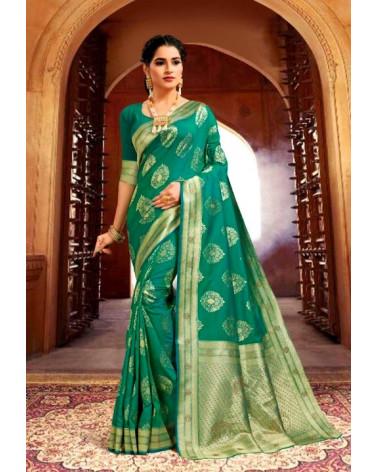 Saree turquoise silk Kaveri