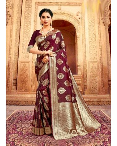 Saree rose marron Kaveri