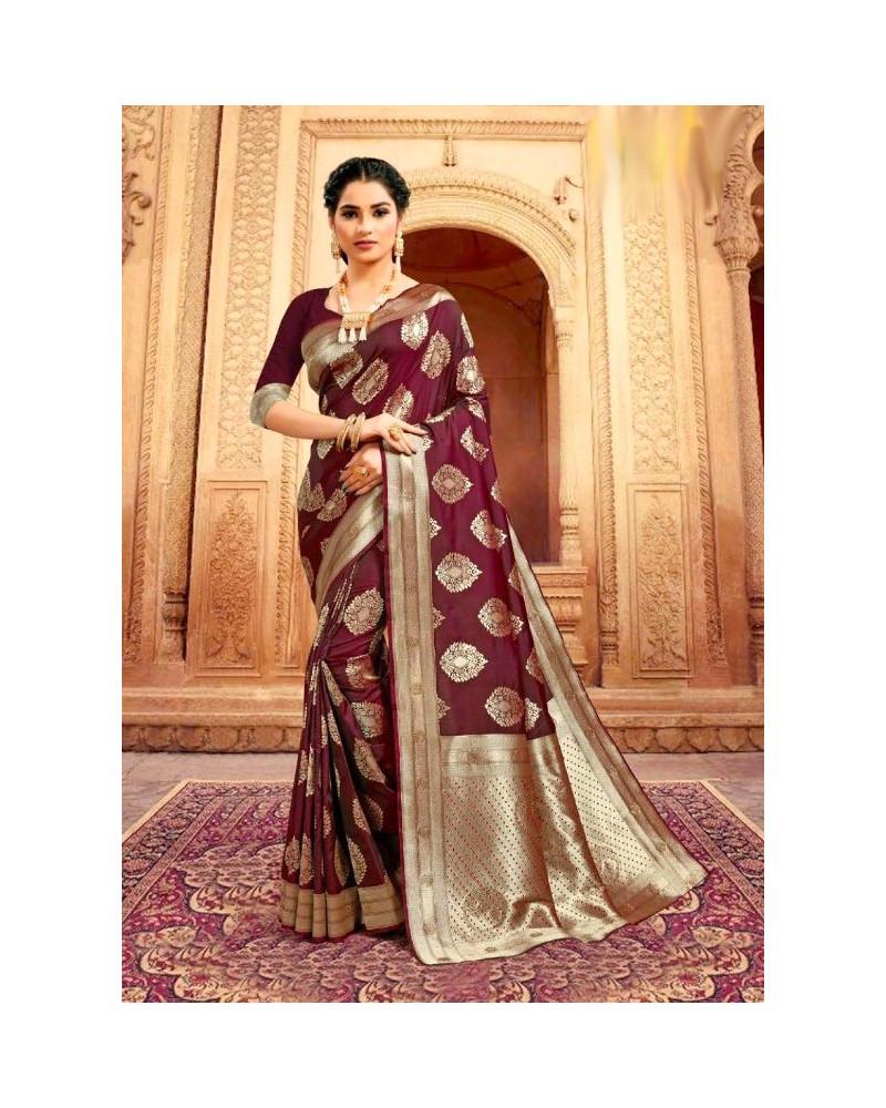 Saree rose marron Kaveri