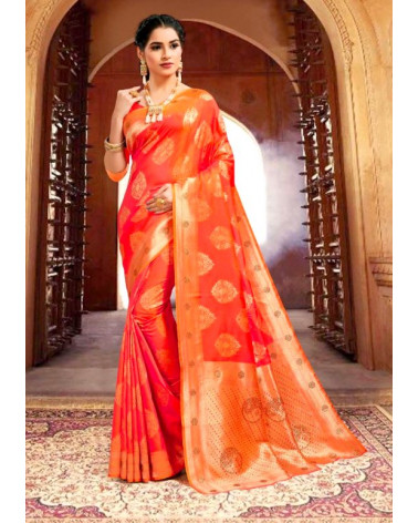 Saree orange silk Kaveri