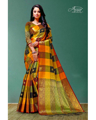 Saree silk orange or Aura