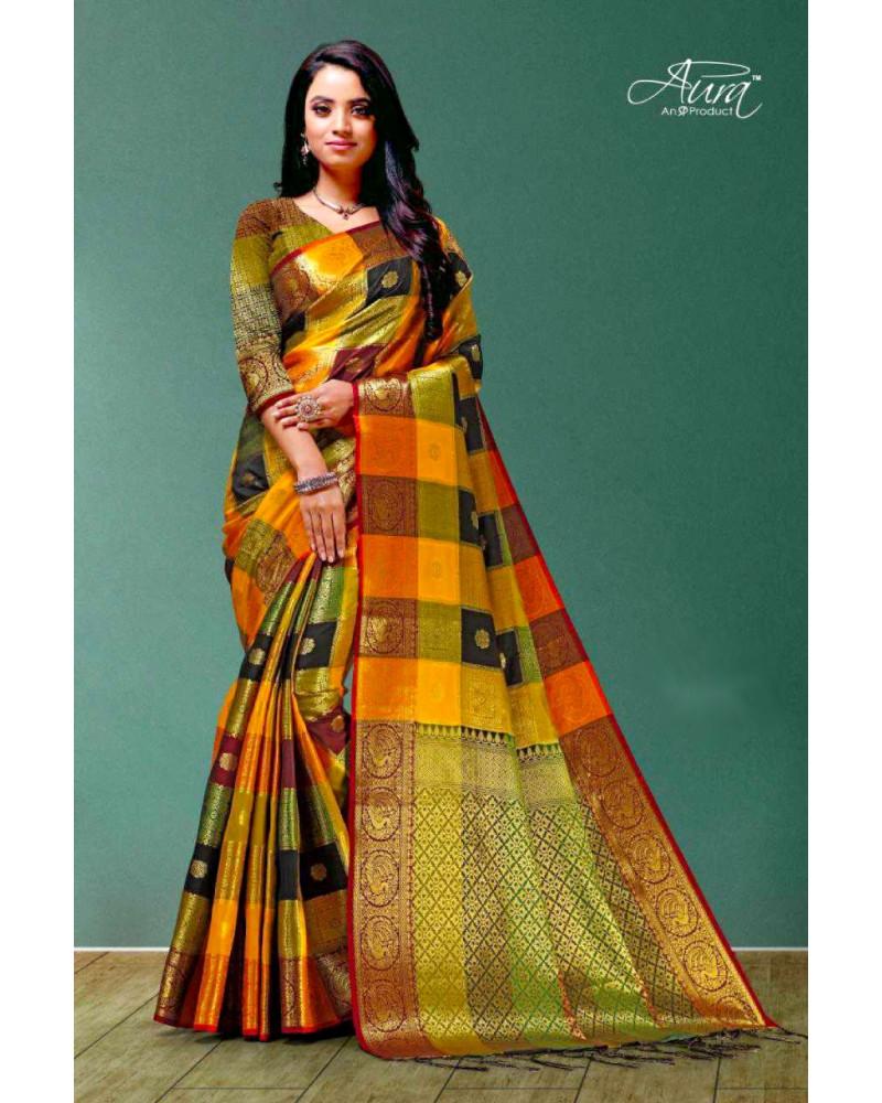 Saree silk orange or Aura