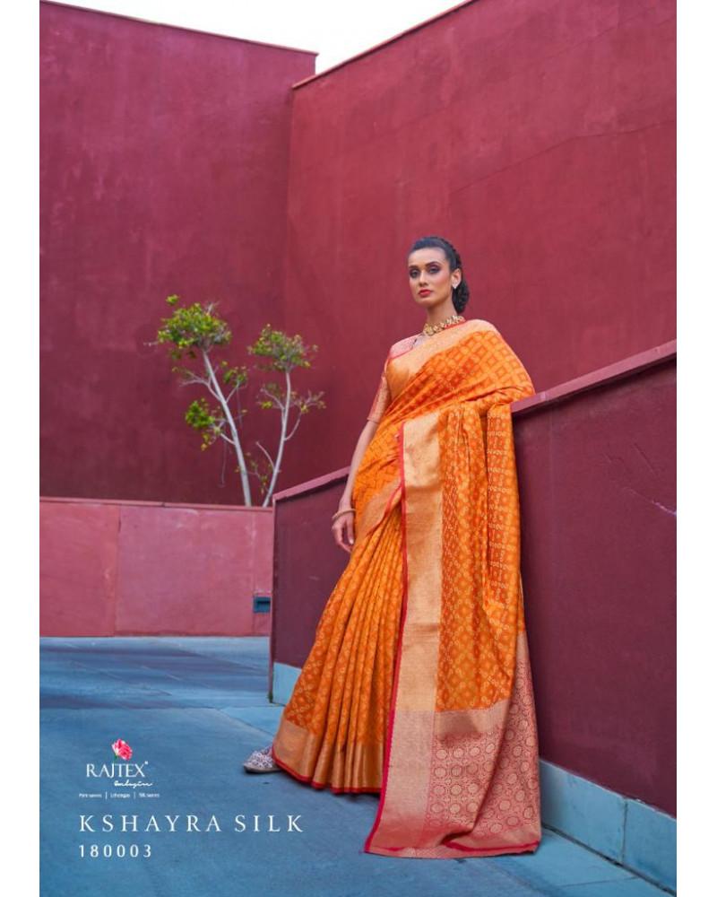 Saree orange silk Rajtex