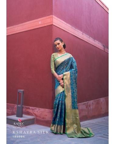 Saree bleu silk Rajtex
