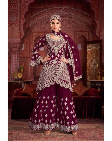 Salwar kameez rouge bordeaux Sultan