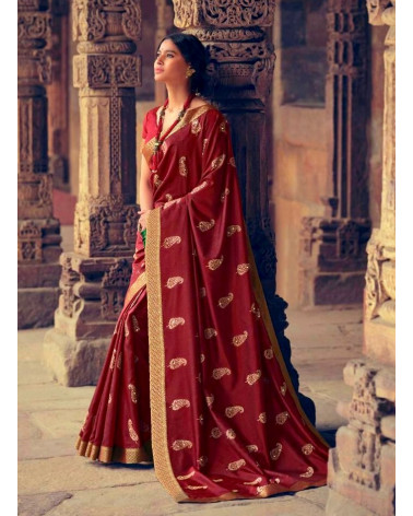 Saree rouge brun Zaffran