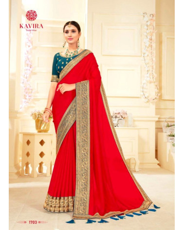 Saree rouge Kavira